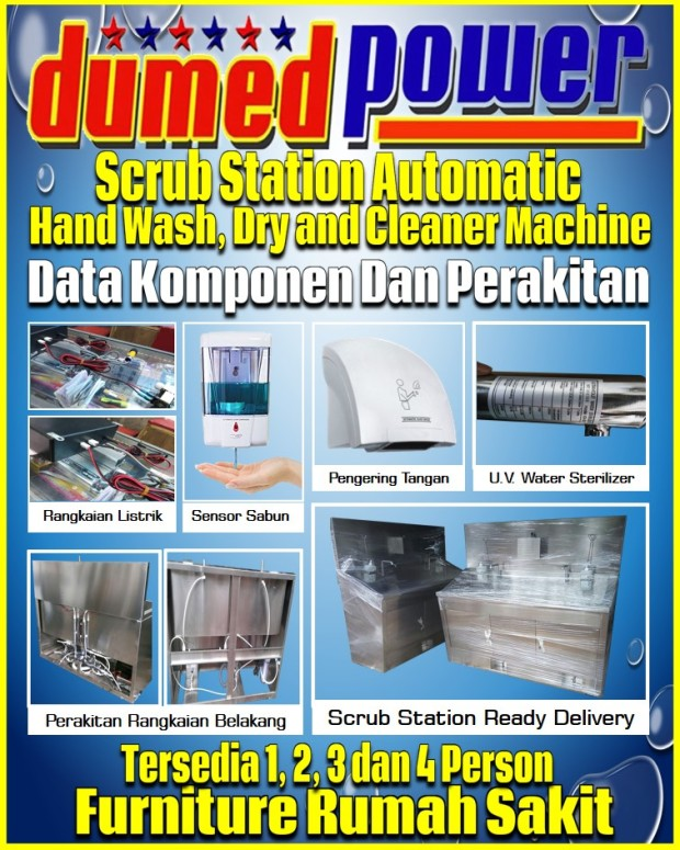 Scrub Station Automatic 1-2-3 dan 4 Person Stainless Steel Data Komponen dan Perakitan DSS-102-A2P