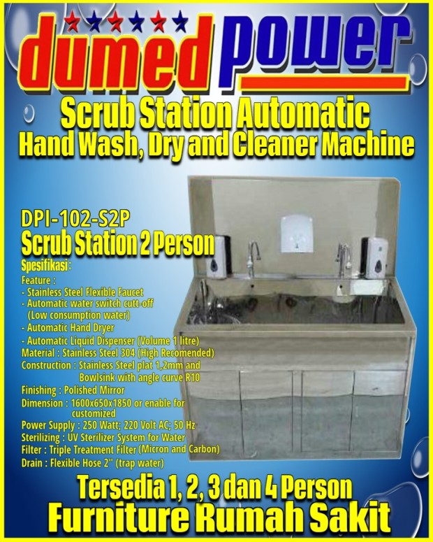 Spesifikasi Scrub Station 2 Person Full Automatic Stainless Steel