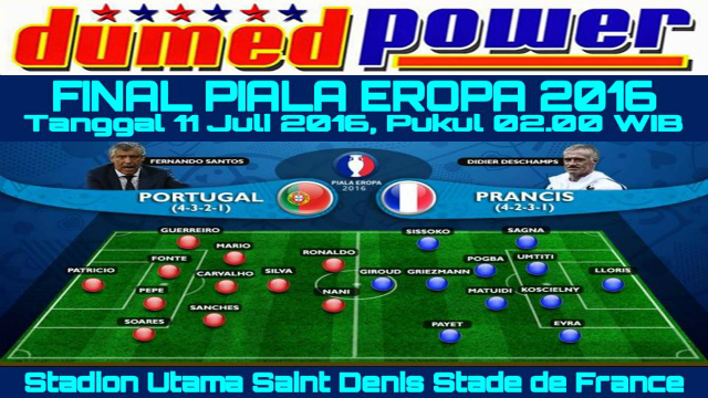 Final Piala Eropa 2016 Portugal VS France - Formasi dan Line-Up Susunan Pemain