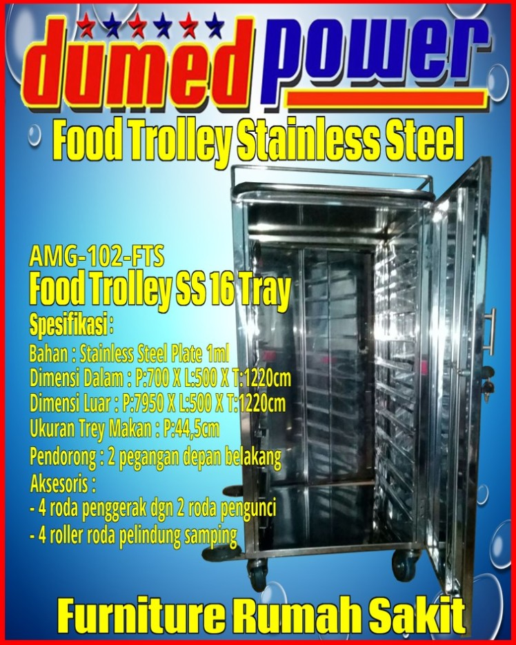 Food Trolley Rumah Sakit ~ Kereta Makan Pasien Bahan Stainless Steel Plate