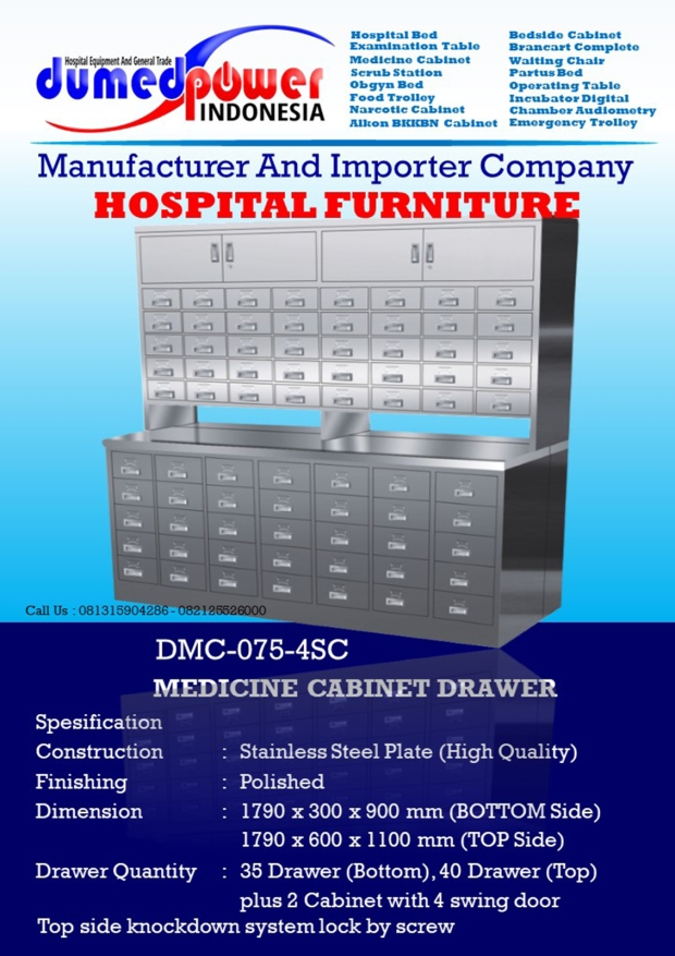 Medicine Cabinet 75 Drawer with Pharmaceutical Table DMC-075-4SC